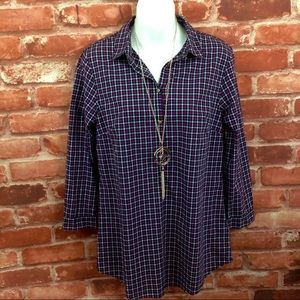 FINAL SALE!!!  plaid popover Blouse  Size 6